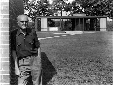 Mr. Philip Johnson with his Glass House in July, 1949 in New Canaan, Conn.